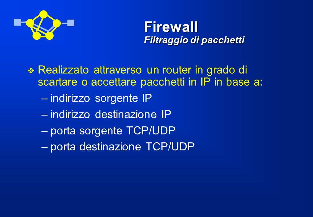 Firewall Funzioni di proxy Un firewall, sotto forma di application gateway, può connettere traffico in ingresso ed in uscita sostituendosi di volta in volta alla sorgente e alla destinazione Può essere usato per una varietà di servizi (da FTP e Telnet, fino al più comune scambio client- server WWW)
