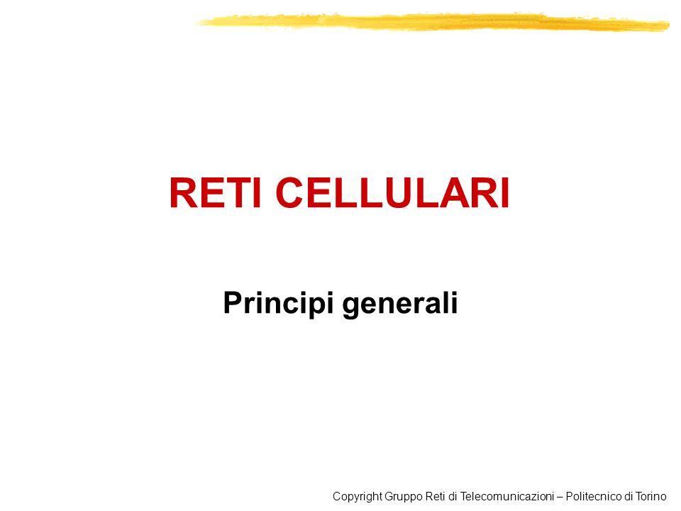 Copyright Gruppo Reti di Telecomunicazioni – Politecnico di Torino RETI RADIOMOBILI 32 Sectoring La cella è divisa in settori che usano frequenze diverse con antenne direttive (a 60° o 120°) Le antenne direttive riducono linterferenza Creo nuove celle senza aumentare i costi dei siti radio Configurazione tipica è la tri-cellulare con 3 settori per cella (3 celle per sito) e antenne direttive separate di 120°