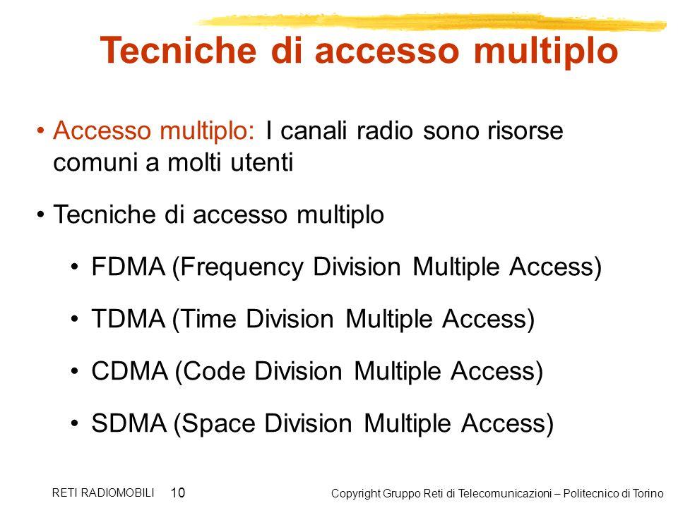 Copyright Gruppo Reti di Telecomunicazioni – Politecnico di Torino RETI RADIOMOBILI 10 Tecniche di accesso multiplo Accesso multiplo: I canali radio s