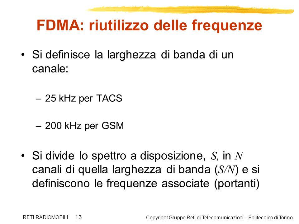 Copyright Gruppo Reti di Telecomunicazioni – Politecnico di Torino RETI RADIOMOBILI 13 FDMA: riutilizzo delle frequenze Si definisce la larghezza di b