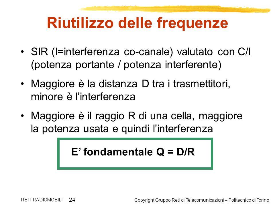 Copyright Gruppo Reti di Telecomunicazioni – Politecnico di Torino RETI RADIOMOBILI 24 Riutilizzo delle frequenze SIR (I=interferenza co-canale) valut