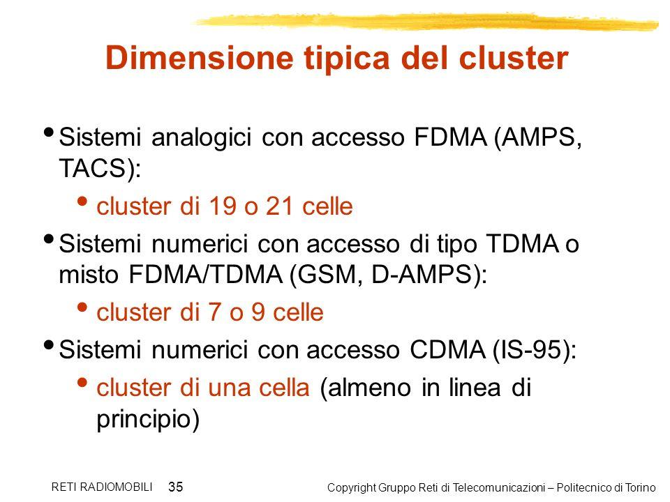 Copyright Gruppo Reti di Telecomunicazioni – Politecnico di Torino RETI RADIOMOBILI 35 Dimensione tipica del cluster Sistemi analogici con accesso FDM