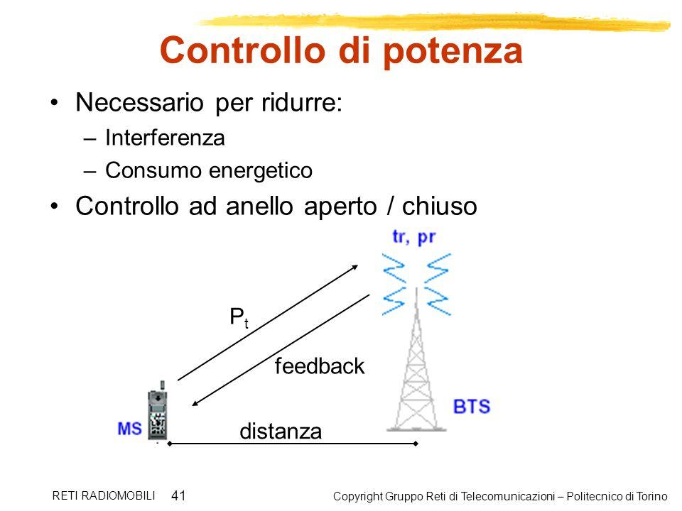 Copyright Gruppo Reti di Telecomunicazioni – Politecnico di Torino RETI RADIOMOBILI 41 Controllo di potenza Necessario per ridurre: –Interferenza –Con