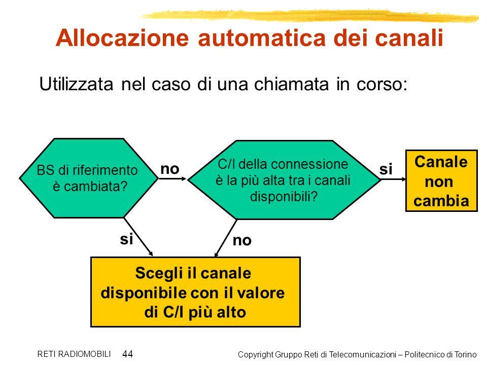 Copyright Gruppo Reti di Telecomunicazioni – Politecnico di Torino RETI RADIOMOBILI 44 Allocazione automatica dei canali BS di riferimento è cambiata?
