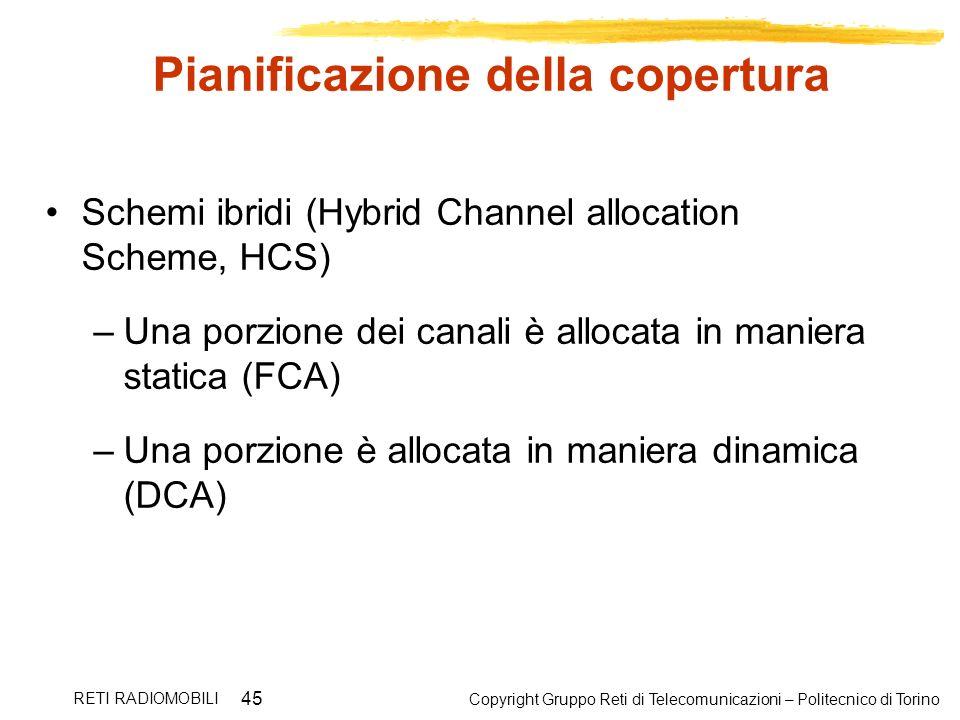 Copyright Gruppo Reti di Telecomunicazioni – Politecnico di Torino RETI RADIOMOBILI 45 Pianificazione della copertura Schemi ibridi (Hybrid Channel al