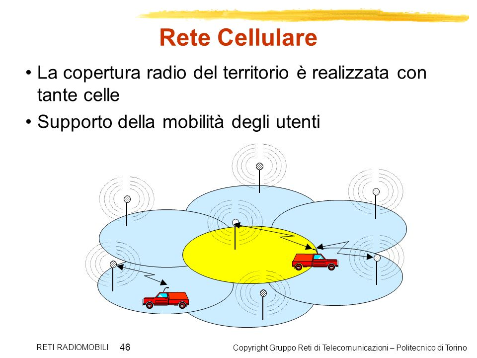 Copyright Gruppo Reti di Telecomunicazioni – Politecnico di Torino RETI RADIOMOBILI 46 Rete Cellulare La copertura radio del territorio è realizzata c