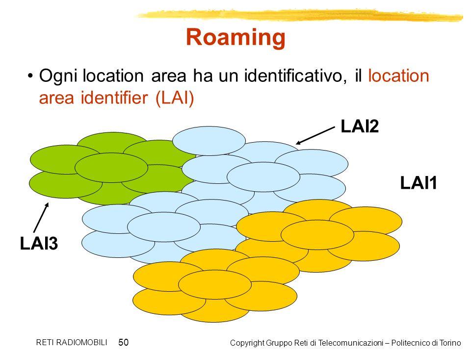 Copyright Gruppo Reti di Telecomunicazioni – Politecnico di Torino RETI RADIOMOBILI 50 Roaming Ogni location area ha un identificativo, il location ar