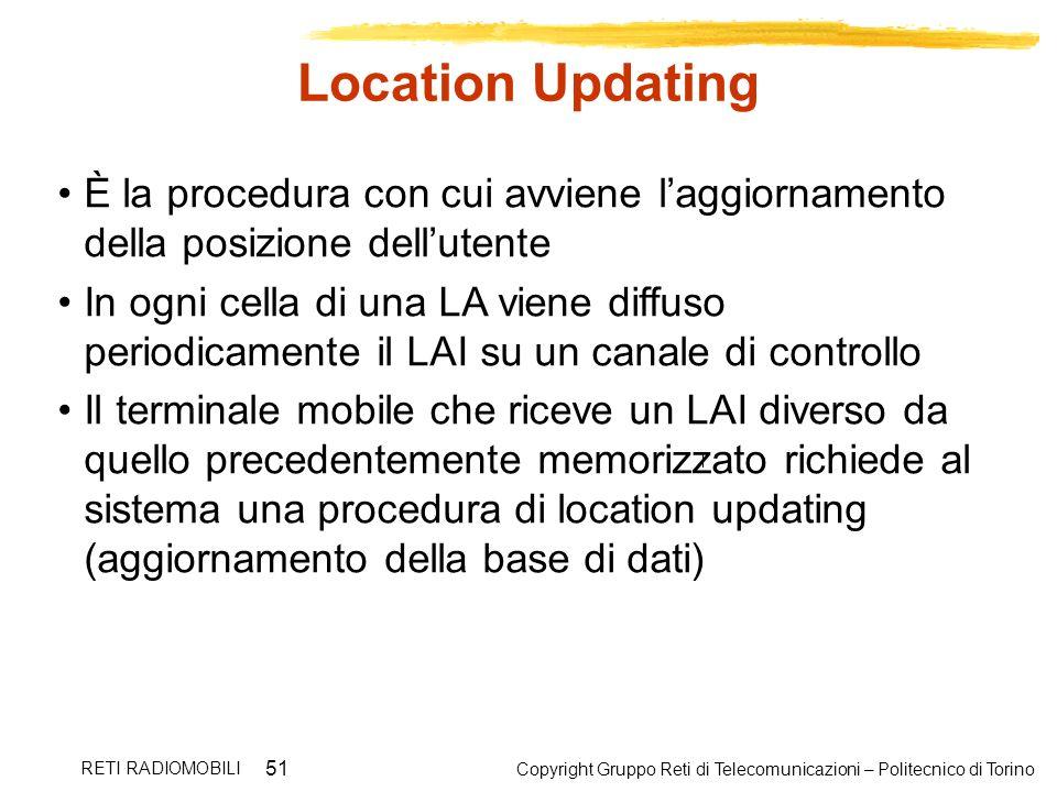 Copyright Gruppo Reti di Telecomunicazioni – Politecnico di Torino RETI RADIOMOBILI 51 Location Updating È la procedura con cui avviene laggiornamento
