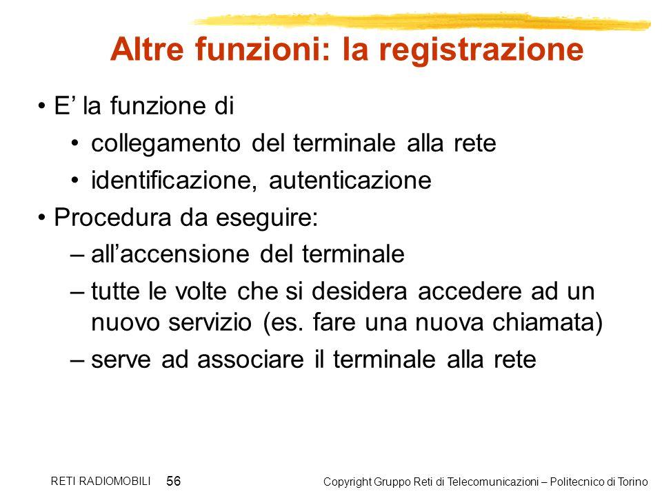 Copyright Gruppo Reti di Telecomunicazioni – Politecnico di Torino RETI RADIOMOBILI 56 Altre funzioni: la registrazione E la funzione di collegamento