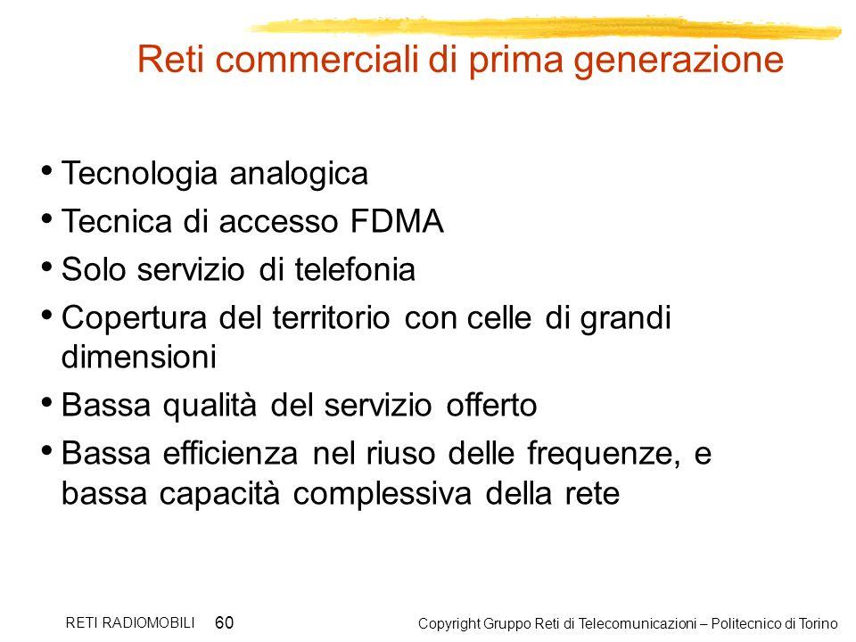 Copyright Gruppo Reti di Telecomunicazioni – Politecnico di Torino RETI RADIOMOBILI 60 Reti commerciali di prima generazione Tecnologia analogica Tecn