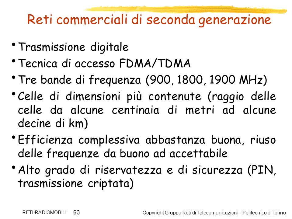 Copyright Gruppo Reti di Telecomunicazioni – Politecnico di Torino RETI RADIOMOBILI 63 Reti commerciali di seconda generazione Trasmissione digitale T