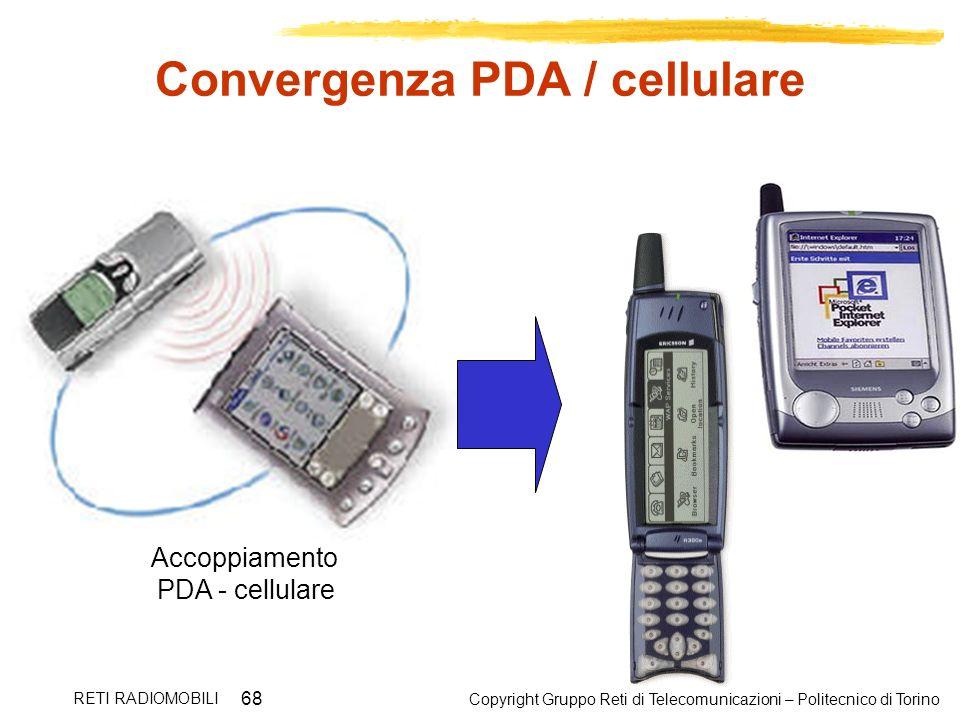 Copyright Gruppo Reti di Telecomunicazioni – Politecnico di Torino RETI RADIOMOBILI 68 Convergenza PDA / cellulare Accoppiamento PDA - cellulare