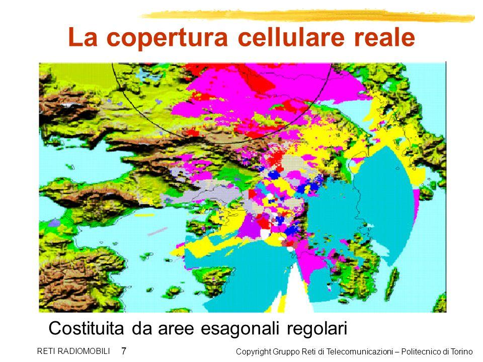 Copyright Gruppo Reti di Telecomunicazioni – Politecnico di Torino RETI RADIOMOBILI 7 La copertura cellulare reale Costituita da aree esagonali regola