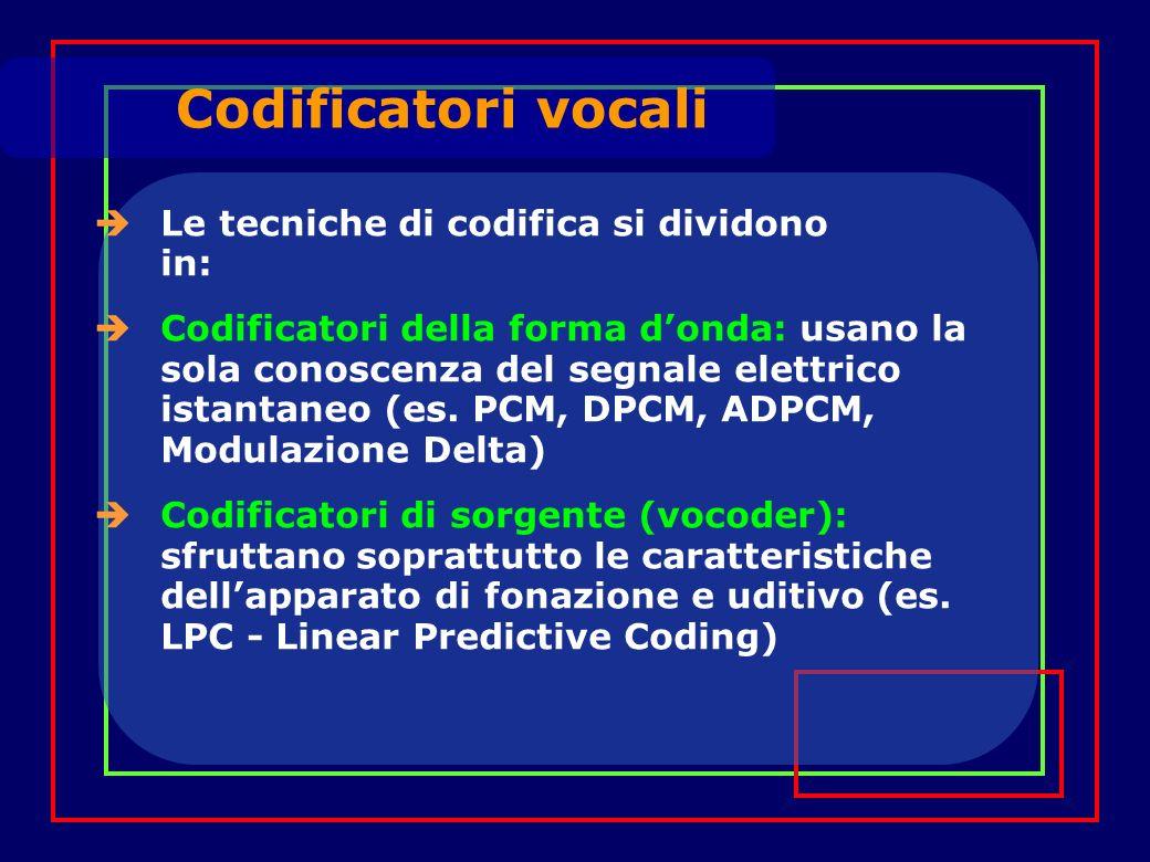 Le tecniche di codifica si dividono in: Codificatori della forma donda: usano la sola conoscenza del segnale elettrico istantaneo (es. PCM, DPCM, ADPC