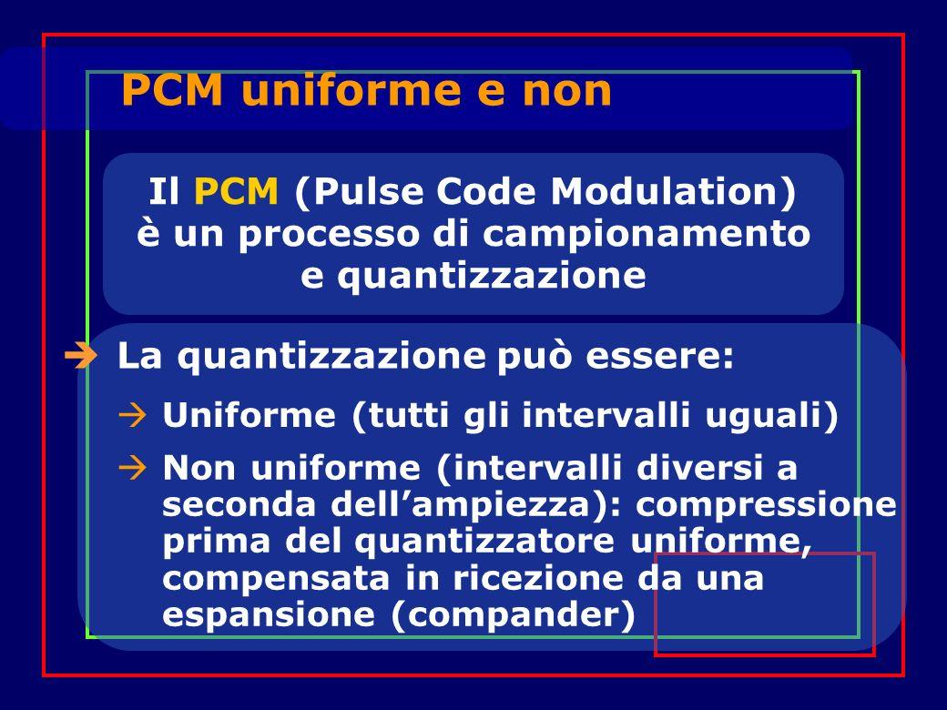 Il PCM (Pulse Code Modulation) è un processo di campionamento e quantizzazione La quantizzazione può essere: PCM uniforme e non Uniforme (tutti gli intervalli uguali) Non uniforme (intervalli diversi a seconda dellampiezza): compressione prima del quantizzatore uniforme, compensata in ricezione da una espansione (compander)
