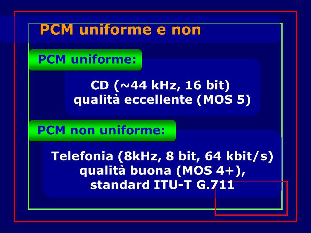 PCM uniforme e non CD (~44 kHz, 16 bit) qualità eccellente (MOS 5) PCM uniforme: Telefonia (8kHz, 8 bit, 64 kbit/s) qualità buona (MOS 4+), standard I