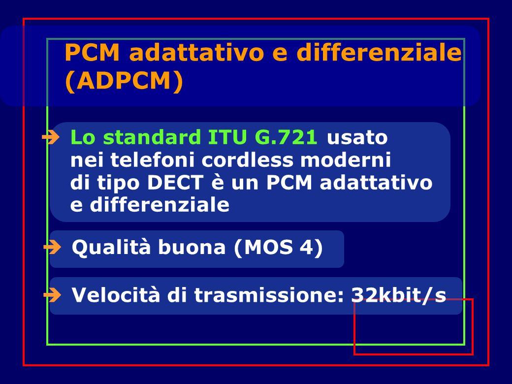 PCM adattativo e differenziale (ADPCM) Lo standard ITU G.721 usato nei telefoni cordless moderni di tipo DECT è un PCM adattativo e differenziale Qualità buona (MOS 4) Velocità di trasmissione: 32kbit/s