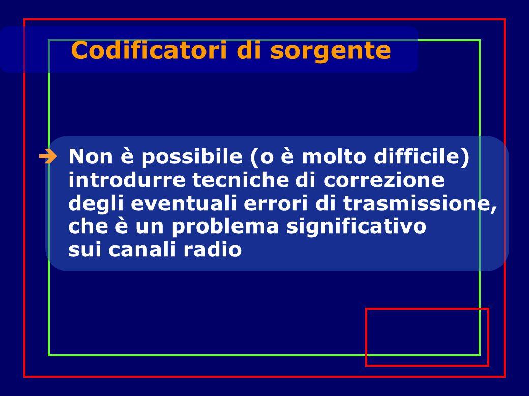Codificatori di sorgente Non è possibile (o è molto difficile) introdurre tecniche di correzione degli eventuali errori di trasmissione, che è un problema significativo sui canali radio