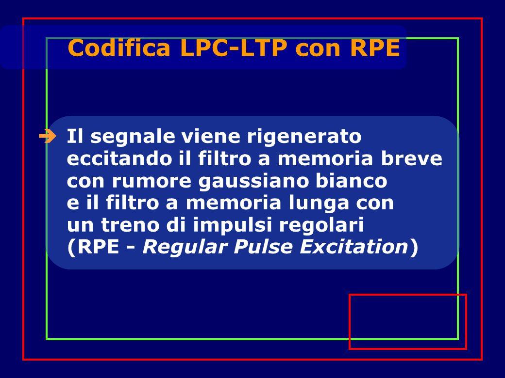 Il segnale viene rigenerato eccitando il filtro a memoria breve con rumore gaussiano bianco e il filtro a memoria lunga con un treno di impulsi regolari (RPE - Regular Pulse Excitation) Codifica LPC-LTP con RPE