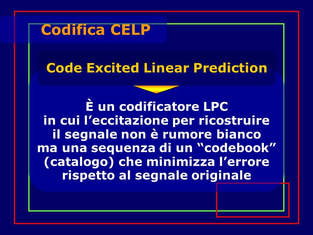 Codifica CELP Code Excited Linear Prediction È un codificatore LPC in cui leccitazione per ricostruire il segnale non è rumore bianco ma una sequenza di un codebook (catalogo) che minimizza lerrore rispetto al segnale originale