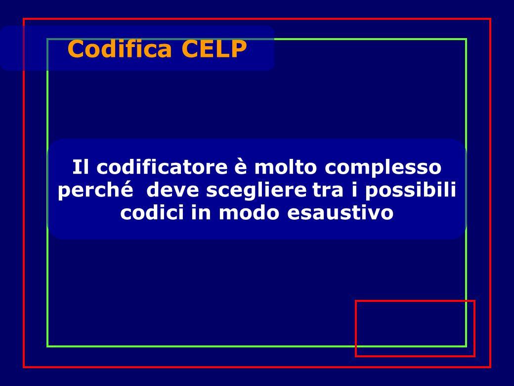 Il codificatore è molto complesso perché deve scegliere tra i possibili codici in modo esaustivo Codifica CELP