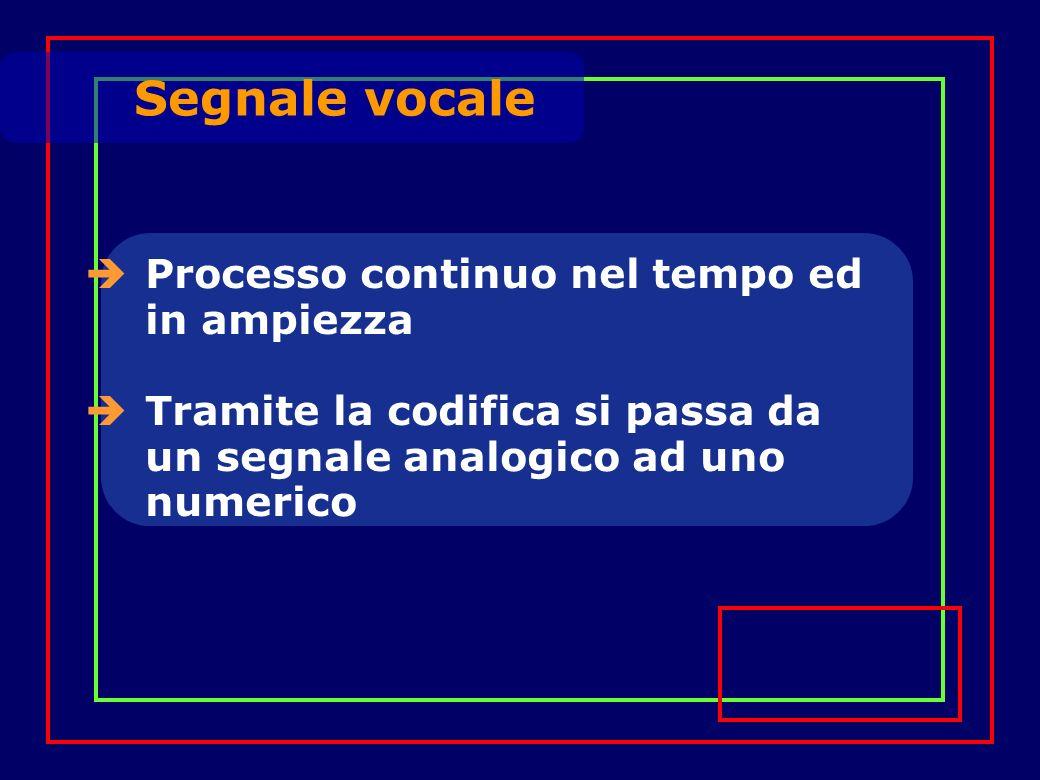 Processo continuo nel tempo ed in ampiezza Tramite la codifica si passa da un segnale analogico ad uno numerico Segnale vocale