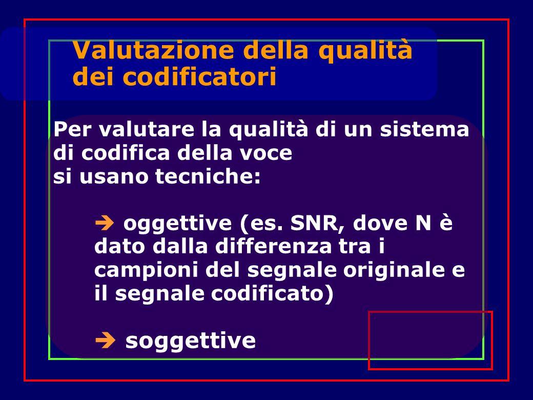 Valutazione della qualità dei codificatori Per valutare la qualità di un sistema di codifica della voce si usano tecniche: oggettive (es. SNR, dove N
