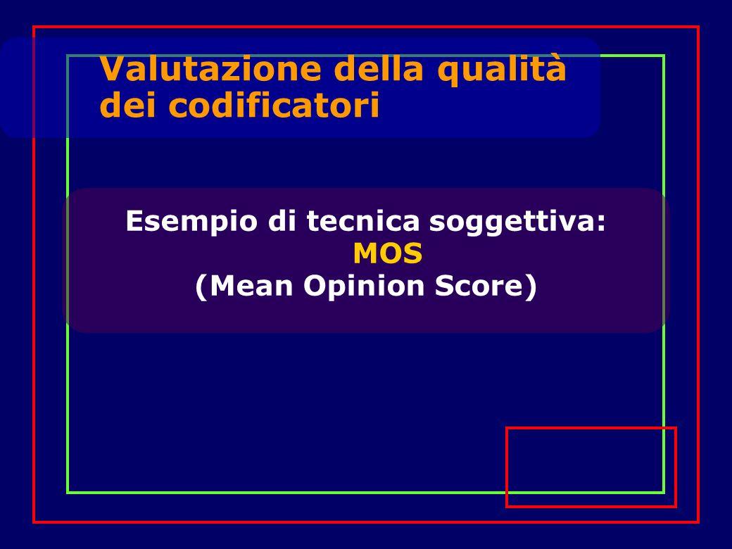 Valutazione della qualità dei codificatori Valutazione ottenuta in modo statistico da un campione di persone (maschi e femmine) che ascoltano brevi pezzi di parlato