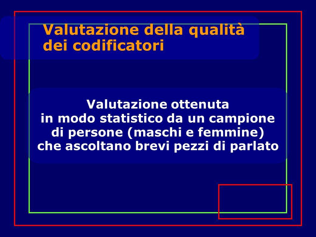 Valutazione della qualità dei codificatori Valutazione ottenuta in modo statistico da un campione di persone (maschi e femmine) che ascoltano brevi pe