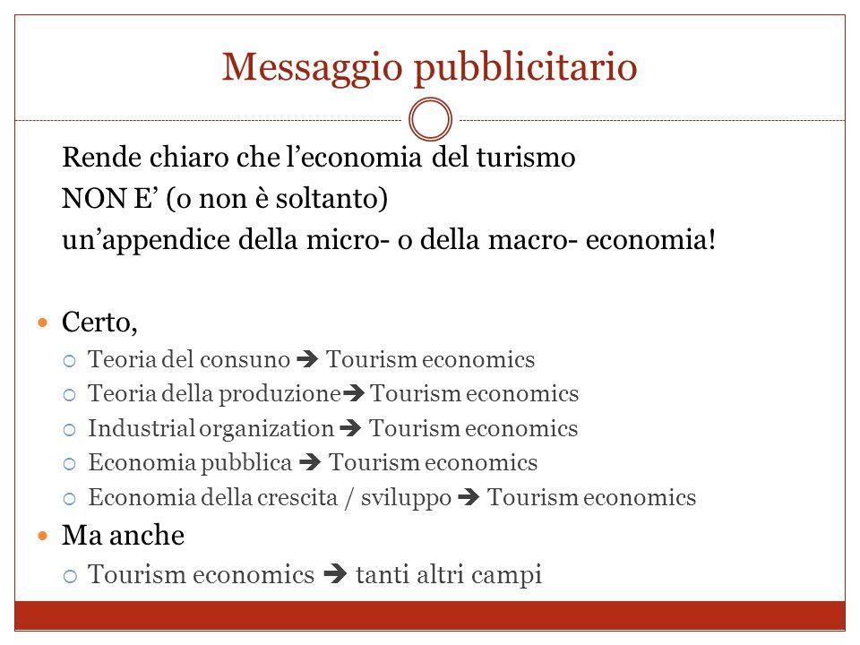 Messaggio pubblicitario Rende chiaro che leconomia del turismo NON E (o non è soltanto) unappendice della micro- o della macro- economia! Certo, Teori