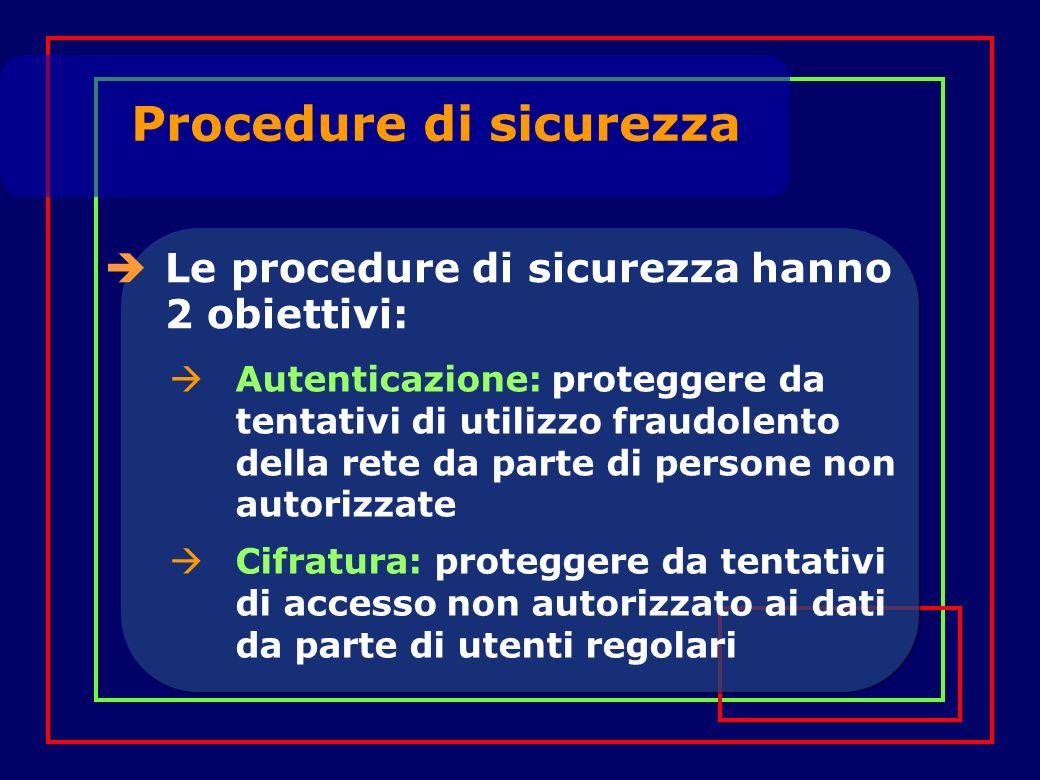 Procedure di sicurezza Le procedure di sicurezza hanno 2 obiettivi: Autenticazione: proteggere da tentativi di utilizzo fraudolento della rete da parte di persone non autorizzate Cifratura: proteggere da tentativi di accesso non autorizzato ai dati da parte di utenti regolari