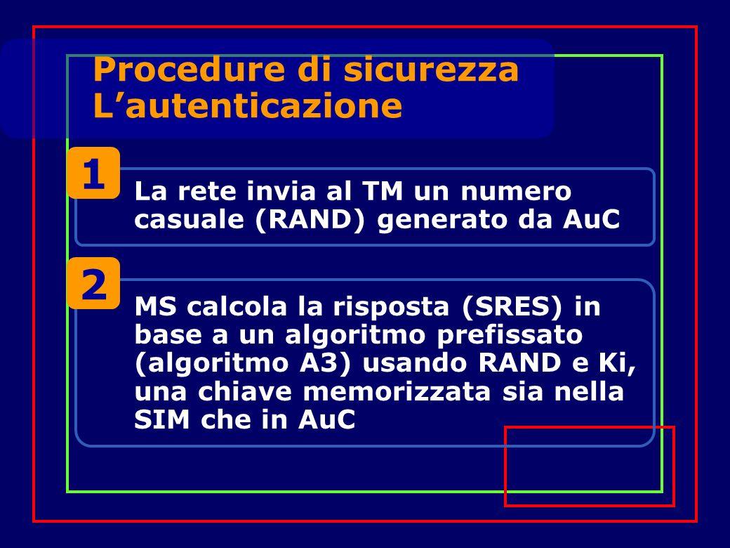 La rete invia al TM un numero casuale (RAND) generato da AuC 1 MS calcola la risposta (SRES) in base a un algoritmo prefissato (algoritmo A3) usando RAND e Ki, una chiave memorizzata sia nella SIM che in AuC 2 Procedure di sicurezza Lautenticazione