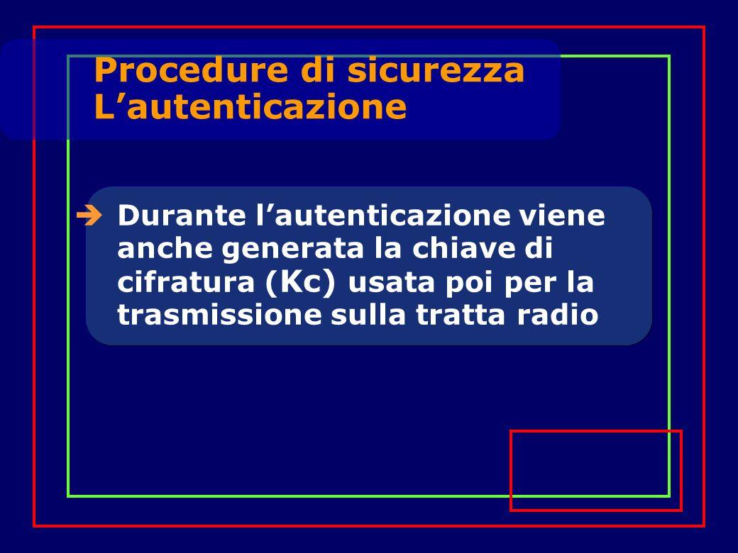 Durante lautenticazione viene anche generata la chiave di cifratura ( Kc) usata poi per la trasmissione sulla tratta radio Procedure di sicurezza Lautenticazione