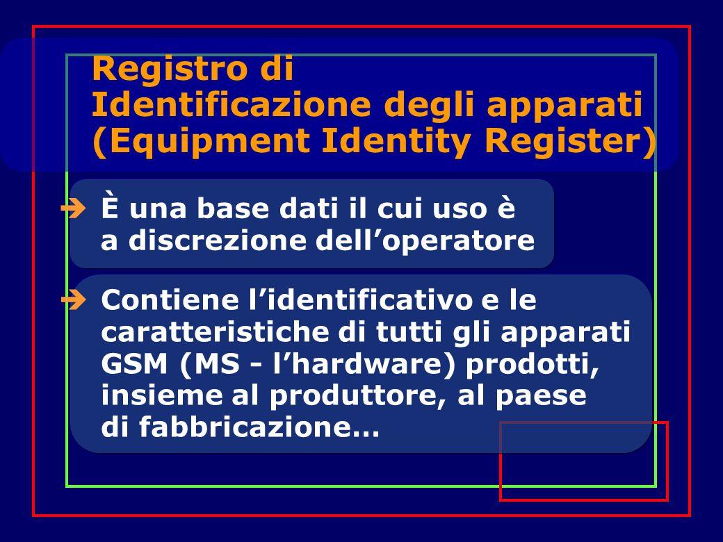 È una base dati il cui uso è a discrezione delloperatore Contiene lidentificativo e le caratteristiche di tutti gli apparati GSM (MS - lhardware) prodotti, insieme al produttore, al paese di fabbricazione… Registro di Identificazione degli apparati (Equipment Identity Register)