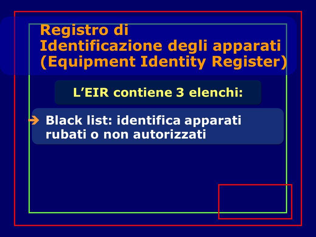 Registro di Identificazione degli apparati (Equipment Identity Register) Black list: identifica apparati rubati o non autorizzati LEIR contiene 3 elenchi: