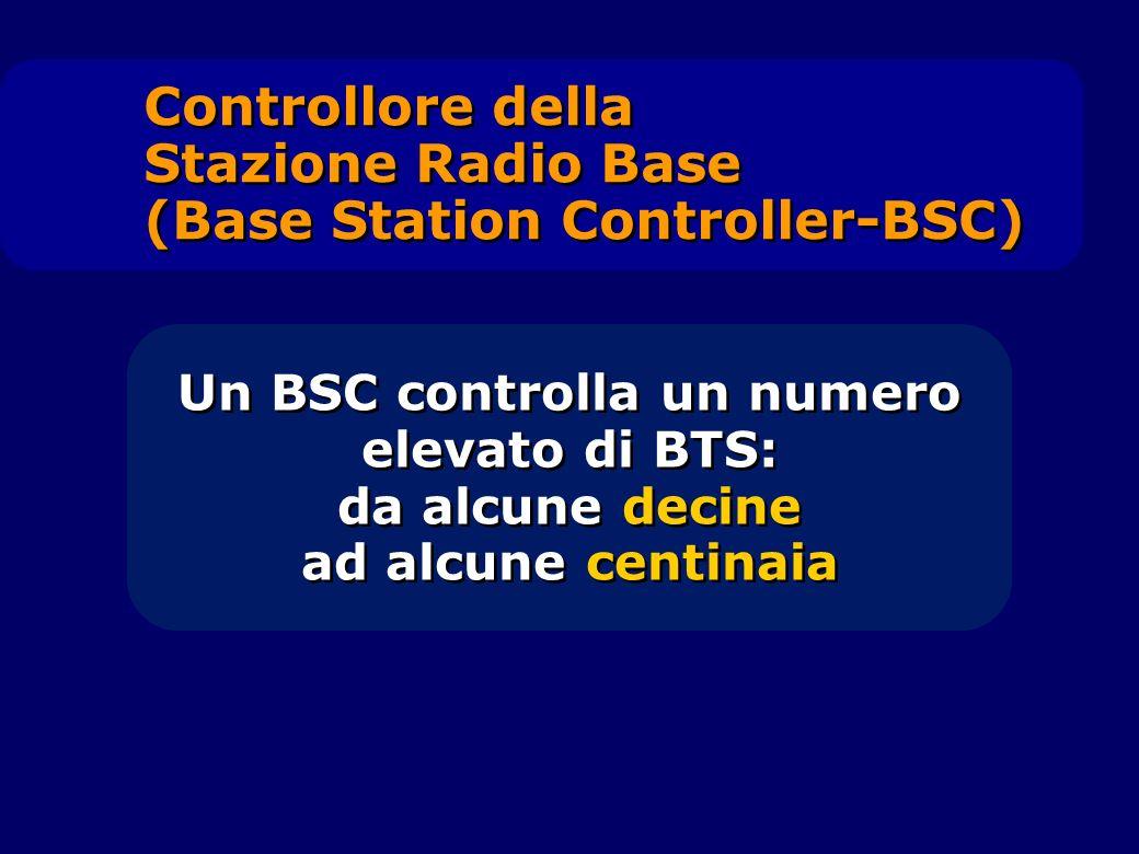 Un BSC controlla un numero elevato di BTS: da alcune decine ad alcune centinaia Un BSC controlla un numero elevato di BTS: da alcune decine ad alcune