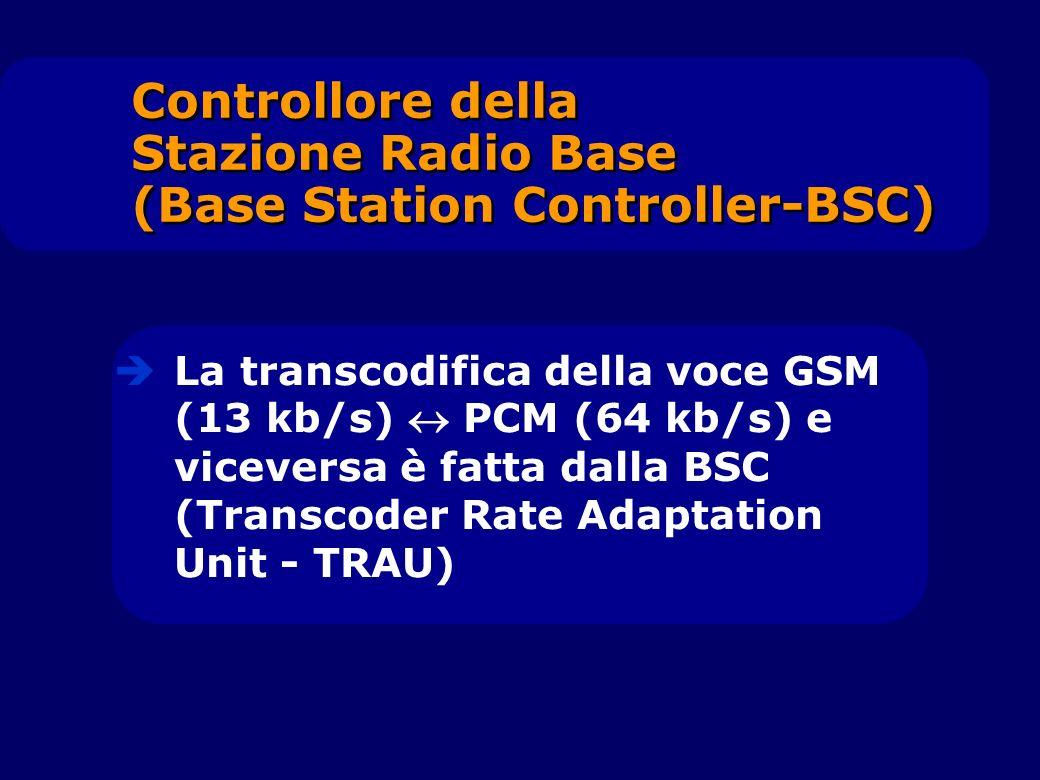 La transcodifica della voce GSM (13 kb/s) PCM (64 kb/s) e viceversa è fatta dalla BSC (Transcoder Rate Adaptation Unit - TRAU) Controllore della Stazi