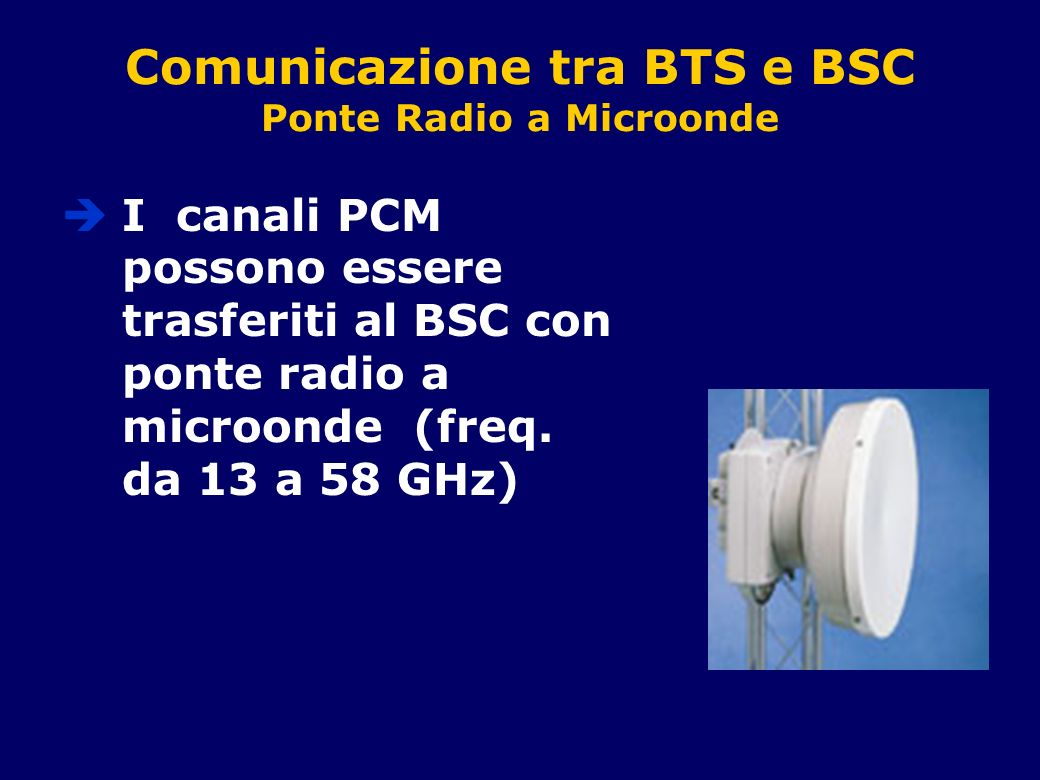 Comunicazione tra BTS e BSC Ponte Radio a Microonde I canali PCM possono essere trasferiti al BSC con ponte radio a microonde (freq. da 13 a 58 GHz)