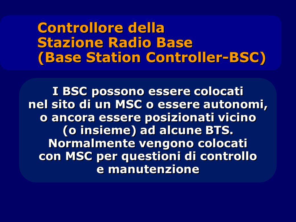 I BSC possono essere colocati nel sito di un MSC o essere autonomi, o ancora essere posizionati vicino (o insieme) ad alcune BTS. Normalmente vengono