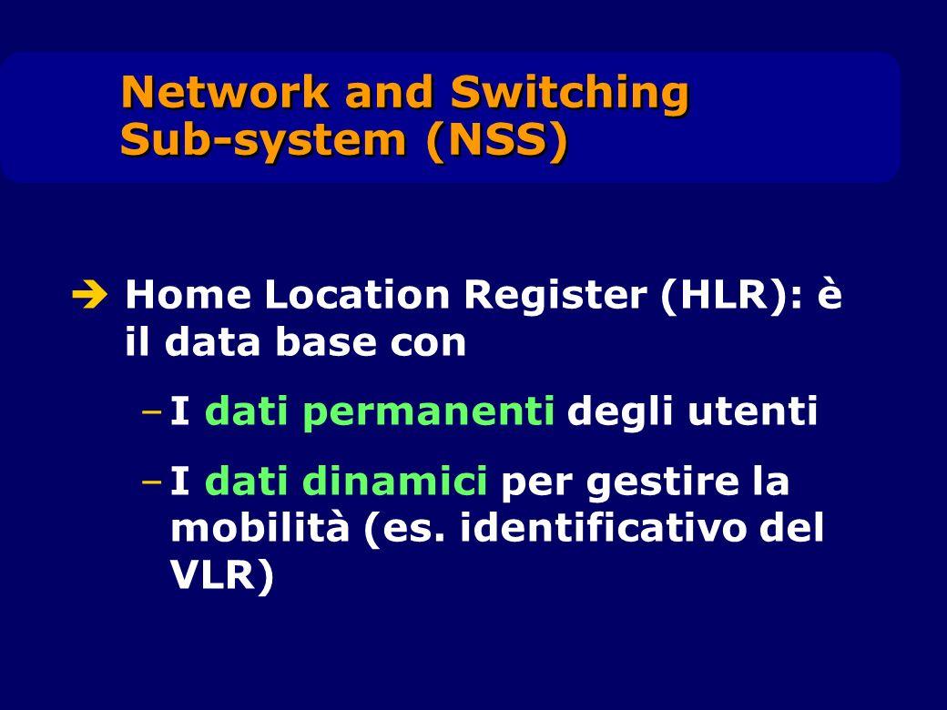 Home Location Register (HLR): è il data base con –I dati permanenti degli utenti –I dati dinamici per gestire la mobilità (es. identificativo del VLR)