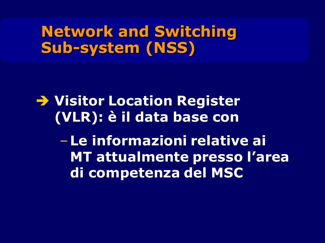 Visitor Location Register (VLR): è il data base con –Le informazioni relative ai MT attualmente presso larea di competenza del MSC Network and Switchi