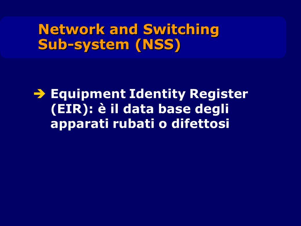 Equipment Identity Register (EIR): è il data base degli apparati rubati o difettosi Network and Switching Sub-system (NSS)