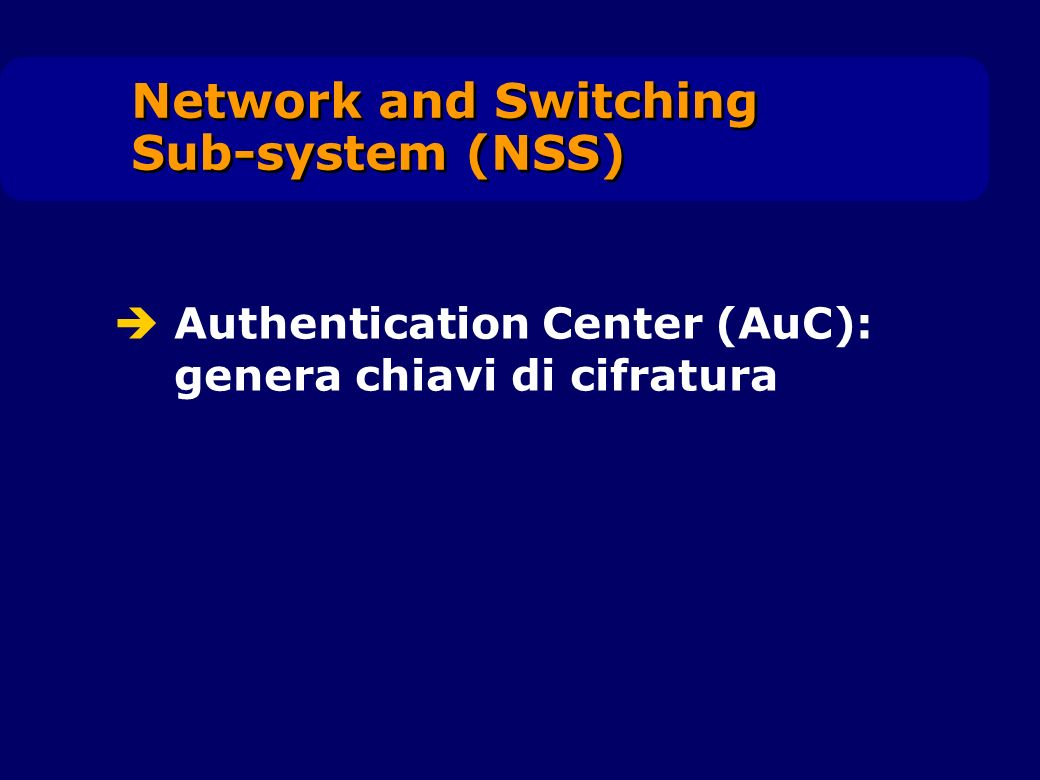 Authentication Center (AuC): genera chiavi di cifratura Network and Switching Sub-system (NSS)