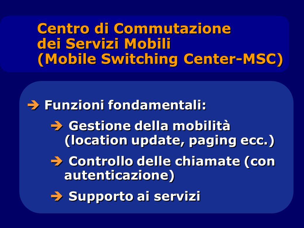Funzioni fondamentali: Gestione della mobilità (location update, paging ecc.) Controllo delle chiamate (con autenticazione) Supporto ai servizi Funzio