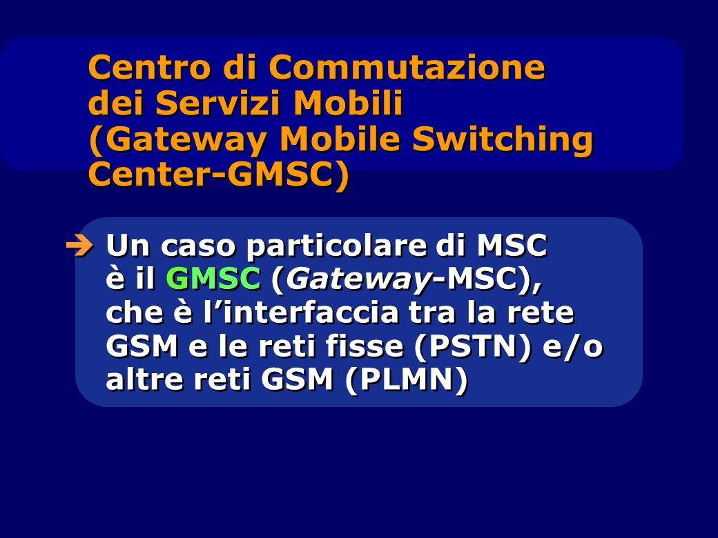 Centro di Commutazione dei Servizi Mobili (Gateway Mobile Switching Center-GMSC) Un caso particolare di MSC è il GMSC (Gateway-MSC), che è linterfacci