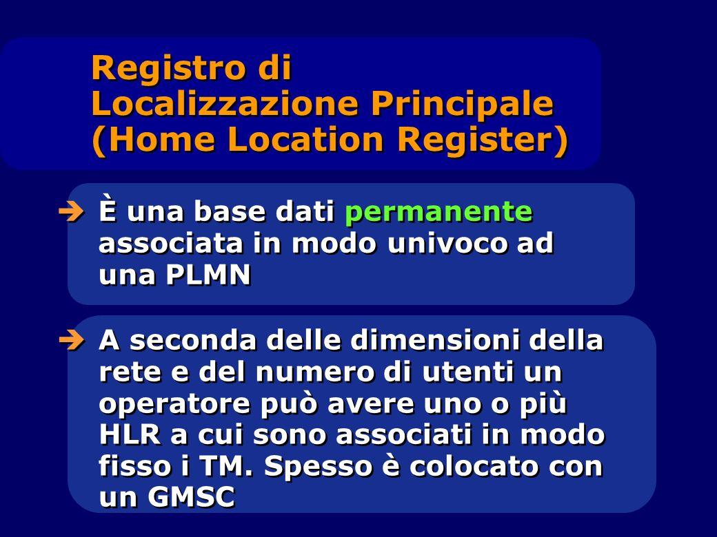 Registro di Localizzazione Principale (Home Location Register) È una base dati permanente associata in modo univoco ad una PLMN A seconda delle dimens