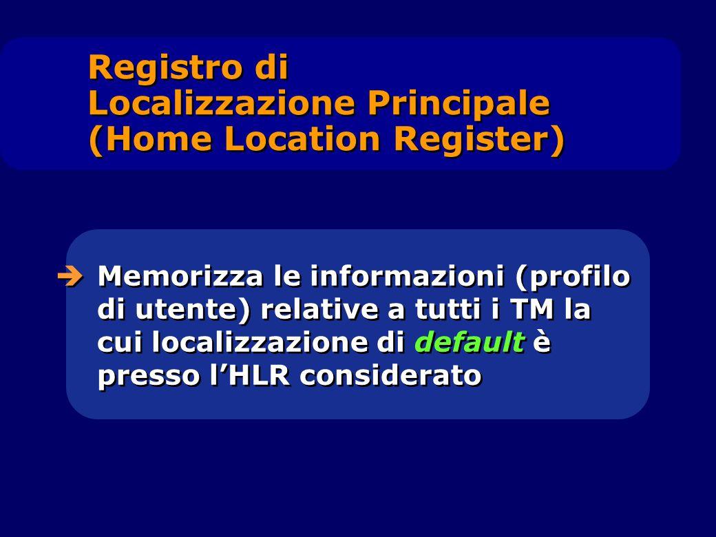 Memorizza le informazioni (profilo di utente) relative a tutti i TM la cui localizzazione di default è presso lHLR considerato Registro di Localizzazi