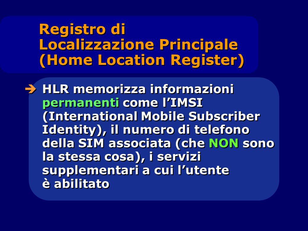 HLR memorizza informazioni permanenti come lIMSI (International Mobile Subscriber Identity), il numero di telefono della SIM associata (che NON sono l