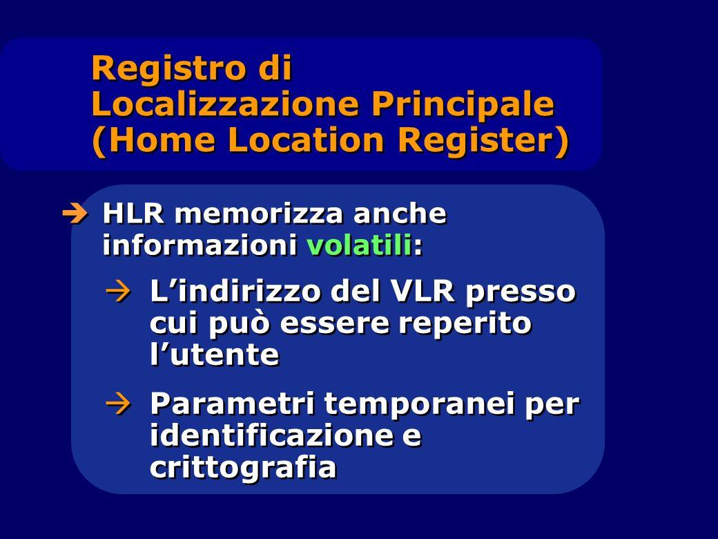 HLR memorizza anche informazioni volatili: Lindirizzo del VLR presso cui può essere reperito lutente Parametri temporanei per identificazione e critto