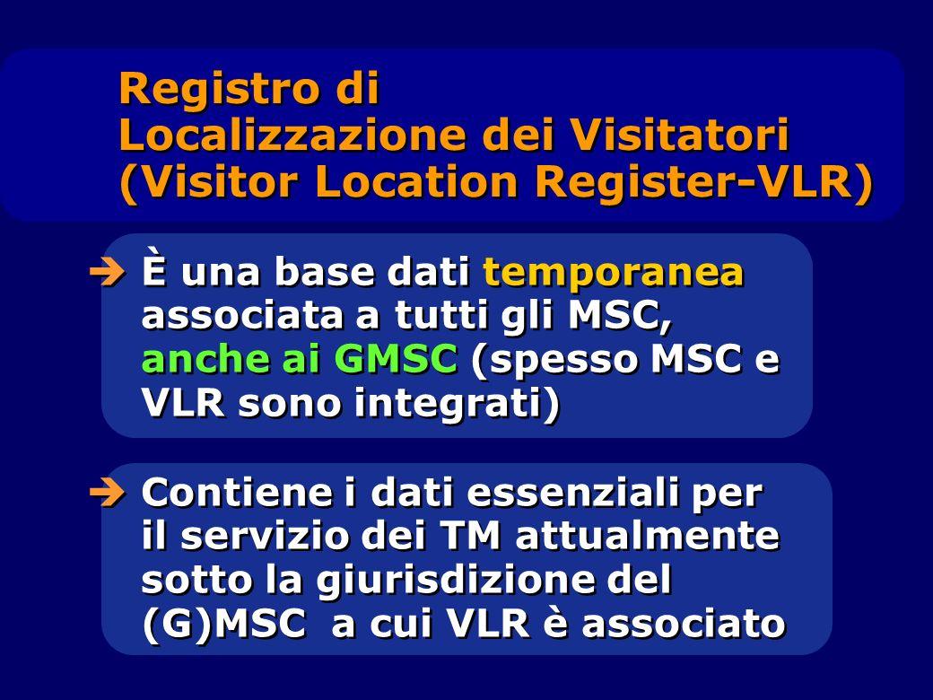 È una base dati temporanea associata a tutti gli MSC, anche ai GMSC (spesso MSC e VLR sono integrati) Contiene i dati essenziali per il servizio dei T